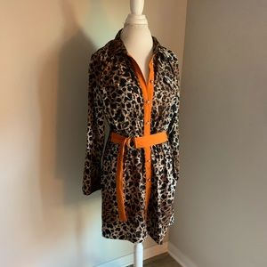 OLIVE &oak animal print dress with orange belt